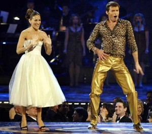 No, Hugh Jackman.. I said GOAL pants.. not gold pants..  ahh, it's a good thing you're Australain and can pull that look off...barely.